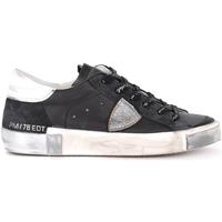 Scarpe Uomo Sneakers basse Philippe Model Sneaker Paris X in pelle e suede nera e silver Nero
