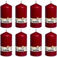 Casa Candele, diffusori Bolsius Candele Moccoli 8 pz 150x78 mm Rosso Vino Rosso