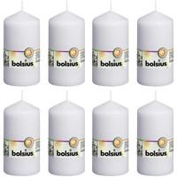 Casa Candele, diffusori Bolsius Candele Moccoli 8 pz 130x68 mm Bianche Bianco