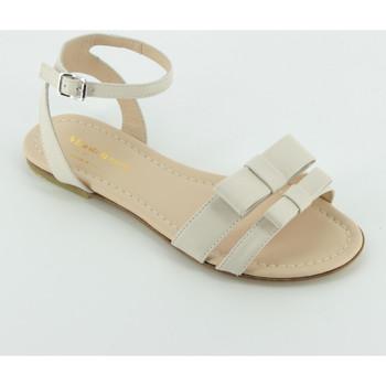 Scarpe Bambina Sandali Andrea Montelpare MT10672 sandalo doppio fiocco Beige
