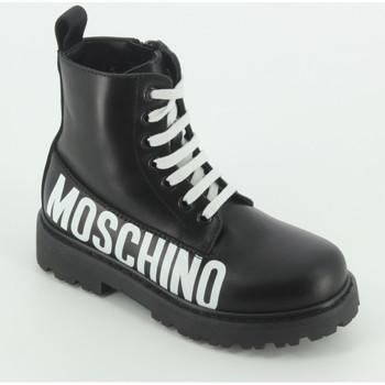 Scarpe Bambina Stivaletti Moschino 65755 anfibio logo bianco Nero