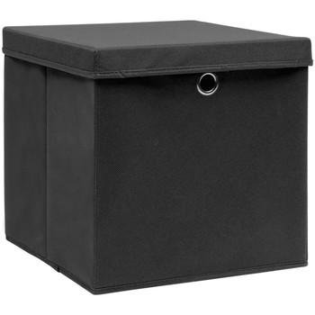 Casa Cestini, scatole e cestini Vidaxl Contenitori con Coperchio 10 pz 28x28x28 cm Nero Nero