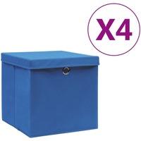 Casa Cestini, scatole e cestini Vidaxl Contenitori con Coperchio 4 pz 28x28x28 cm Blu Blu