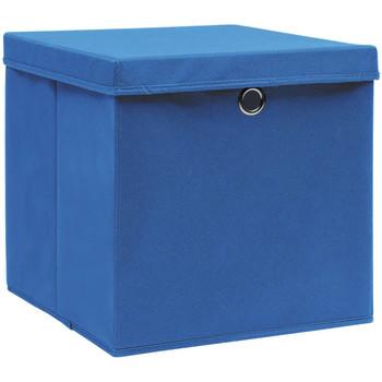 Casa Cestini, scatole e cestini Vidaxl Contenitori con Coperchio 10 pz 28x28x28 cm Blu Blu
