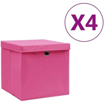 Casa Cestini, scatole e cestini Vidaxl Contenitori con Coperchio 4 pz 28x28x28 cm Rosa Rosa
