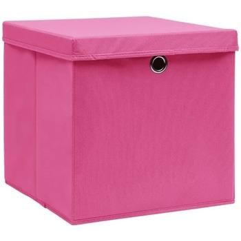 Casa Cestini, scatole e cestini Vidaxl Contenitori con Coperchio 10 pz 28x28x28 cm Rosa Rosa