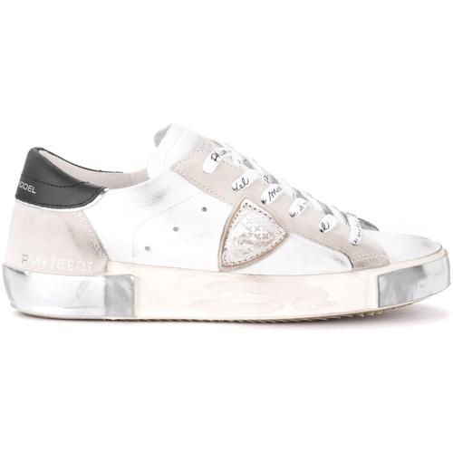 Scarpe Donna Sneakers basse Philippe Model Sneaker Paris X in pelle e suede bianco con spoiler nero Bianco