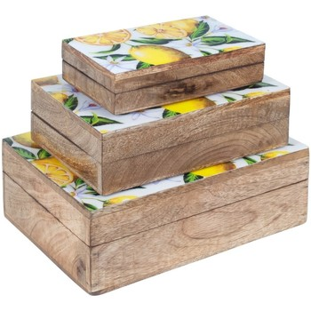 Casa Bauli, scatole di immagazzinaggio Signes Grimalt Sett Di 3 Scatole Limoni Marrón