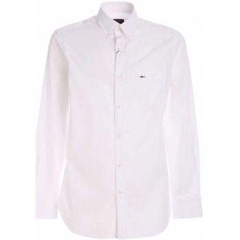 Abbigliamento Uomo Camicie maniche lunghe Paul & Shark ORGANIC COTTON POPELINE BIANCA CON DETTAGLIO LOGO  C0 BIANCO