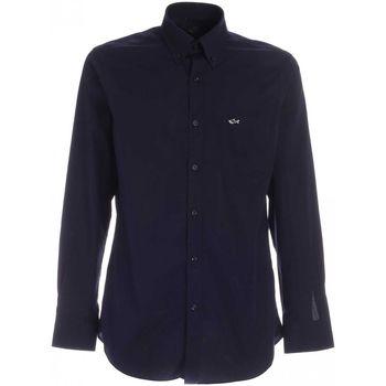 Abbigliamento Uomo Camicie maniche lunghe Paul & Shark ORGANIC COTTON POPELINEBLU CON DETTAGLIO LOGO  C0P300 BLU