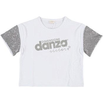 Abbigliamento Bambina T-shirt maniche corte Dimensione Danza T-SHIRT CROPPED M/M BIELASTICO GIRL Bianco