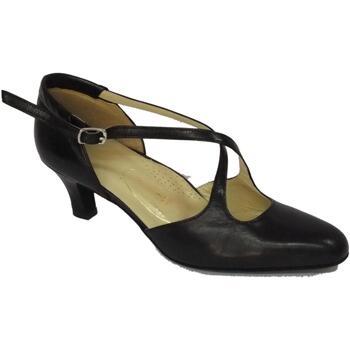 Scarpe Donna Sandali Vitiello Dance Shoes Scarpe da ballo per donna in nappa colore nero tacco 50R  tacco misura 50R (tacco 5cm a pianta semilarga), fodera e sotto