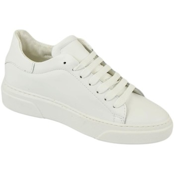 Scarpe Uomo Sneakers basse Malu Shoes Sneakers uomo in vera pelle di nappa bianca classico sportiva l BIANCO