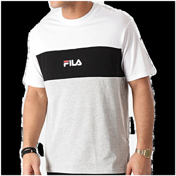 Abbigliamento Uomo T-shirt maniche corte Fila T shirt  Anoki Blocked Tee 688468 Uomo Bianco-nero-grigio Bianco