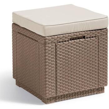 Casa Cestini, scatole e cestini Allibert Cubo Pouf Portaoggetti Cappucino 228096 Beige