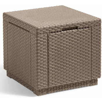Casa Cestini, scatole e cestini Allibert Pouf Cubo Portaoggetti Cappucino 228749 Marrone