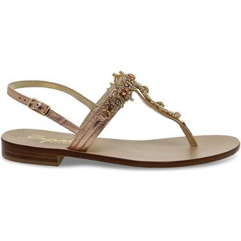 Scarpe Donna Sandali Capri Sandalo basso  POSITANO in laminato e crystal rosa e oro oro,rosa