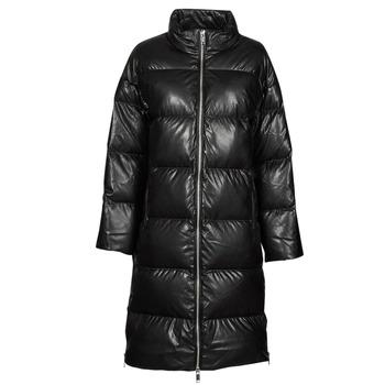Abbigliamento Donna Piumini MICHAEL Michael Kors LONG FAUX LTHR PUFFER Nero