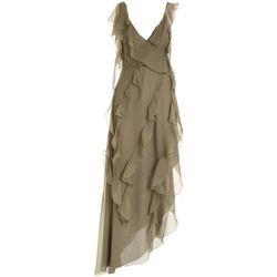 Abbigliamento Donna Abiti corti Blumarine ABITO CON ROUCHES IN SETA VERDE LUNGO  25048 241 VERDE MILITARE