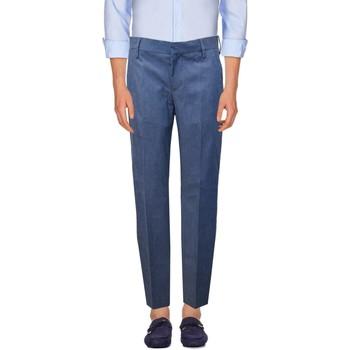 Abbigliamento Uomo Chino Entre Amis Pantalone in chambray - Blu
