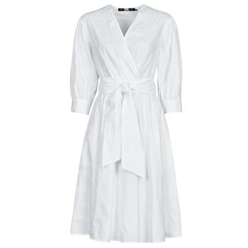 Abbigliamento Donna Abiti corti Karl Lagerfeld LOGO EMROIDERED SHIRT DRESS Bianco