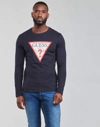 Abbigliamento Uomo T-shirts a maniche lunghe Guess CN LS ORIGINAL LOGO TEE Marine