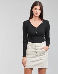 Abbigliamento Donna T-shirts a maniche lunghe Guess ES LS V NECK LOGO HENLEY TEE Nero