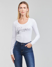 Abbigliamento Donna T-shirts a maniche lunghe Guess LS CN RAISA TEE Bianco