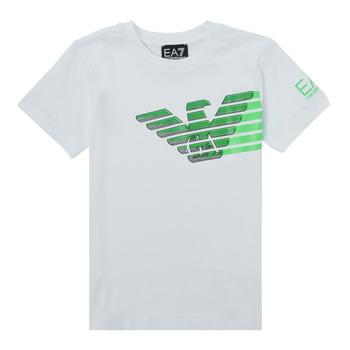 Abbigliamento Bambino T-shirt maniche corte Emporio Armani EA7 THAMIA Bianco / Verde