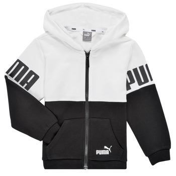 Abbigliamento Bambino Felpe Puma PUMA POWER FZ HOODIE Nero / Bianco