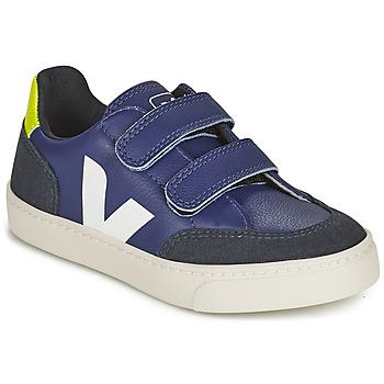 Scarpe Unisex bambino Sneakers basse Veja SMALL V-12 VELCRO Blu / Bianco