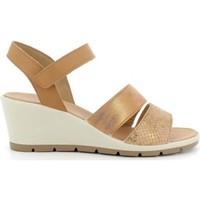 Scarpe Donna Sandali Enval 7279233 sandali scarpe zeppa pelle donna laminato Beige