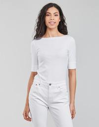 Abbigliamento Donna T-shirts a maniche lunghe Lauren Ralph Lauren JUDY-ELBOW SLEEVE-KNIT Bianco
