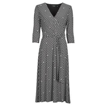 Abbigliamento Donna Abiti lunghi Lauren Ralph Lauren CARLYNA-3/4 SLEEVE-DAY DRESS Nero