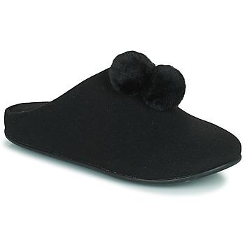 Scarpe Donna Pantofole FitFlop CHRISSIE POM POM SLIPPERS Nero