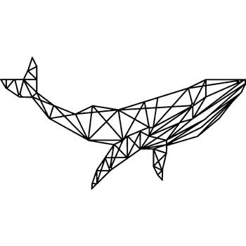 Casa Dipinti, tele Homemania Decorazione da Parete Balena Geometrica, Nero, L56xP0,15xA31 cm Nero