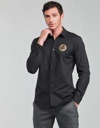 Abbigliamento Uomo Camicie maniche lunghe Versace Jeans Couture SLIM PRINT V EMBLEM GOLD Nero / Oro
