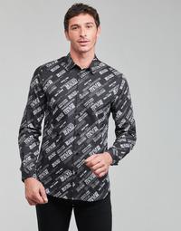 Abbigliamento Uomo Camicie maniche lunghe Versace Jeans Couture SLIM PRINT WARRANTY Nero / Bianco