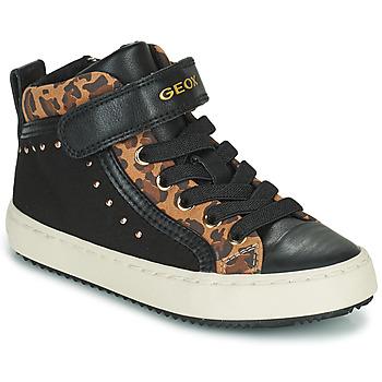 Scarpe Bambina Sneakers alte Geox KALISPERA Nero / Leopard
