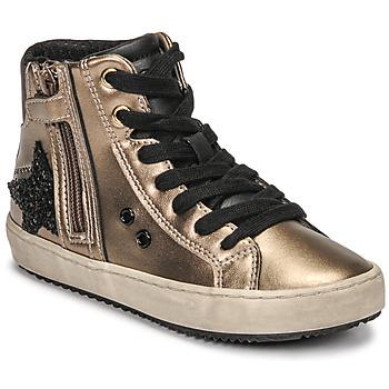 Scarpe Bambina Sneakers alte Geox KALISPERA Oro / Nero