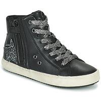 Scarpe Bambina Sneakers alte Geox KALISPERA Nero / Argento