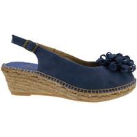 Scarpe Donna Sandali Toni Pons sandalo aperto camoscio blu bluette fiore art RODA zeppa espad blu