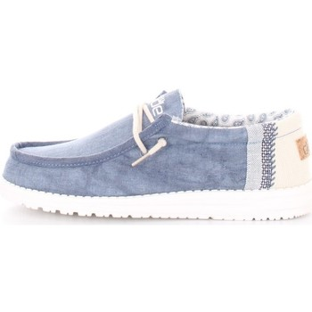 Scarpe Uomo Mocassini Hey Dude WALLY LINEN Blu