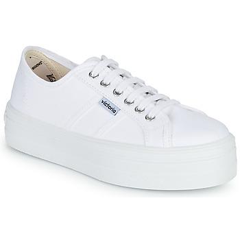 Scarpe Donna Sneakers basse Victoria BLUCHER LONA PLATAFORMA Bianco