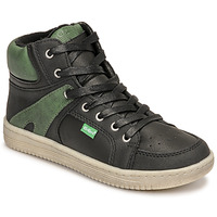 Scarpe Bambino Sneakers alte Kickers LOWELL Nero / Verde