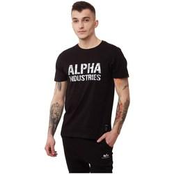 Abbigliamento Uomo T-shirt maniche corte Alpha Camo Print Tshirt Nero