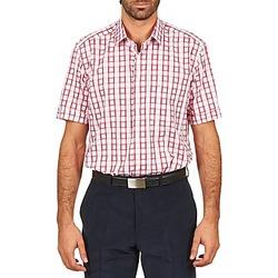 Abbigliamento Uomo Camicie maniche corte Pierre Cardin CH MC CARREAU GRAPHIQUE Bianco / Rosso