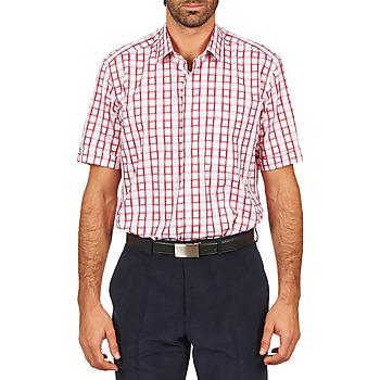 2373771bdc762 Abbigliamento Uomo Camicie maniche corte Pierre Cardin CH MC CARREAU  GRAPHIQUE Bianco   Rosso