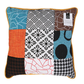 Casa cuscini The home deco factory PATCHWORK Bianco / Nero / Arancio / Turquoise / Marrone