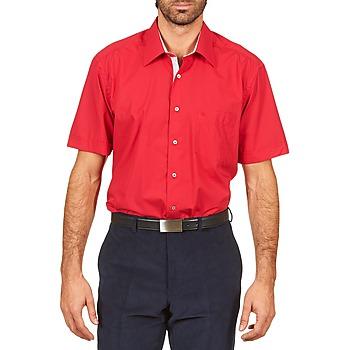 Abbigliamento Uomo Camicie maniche corte Pierre Cardin CH MC POPELINE UNIE - OPPO RAYURE INTERIEUR COL & POIGNET Rosa / Rosso
